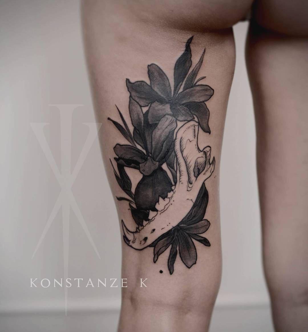 Wolf Jaw And Black Iris Black Iris Tattoos Flower Tattoo