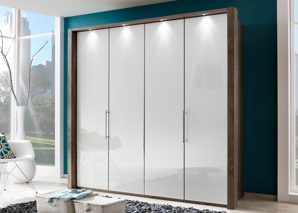 Kleiderschrank Loft Eiche Trüffel Glas Weiß 9393 Buy now at   - schlafzimmerschrank weiß hochglanz