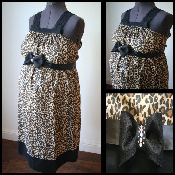 Maternity Hospital Gown- Cheetah Print with Black Band, Black ...