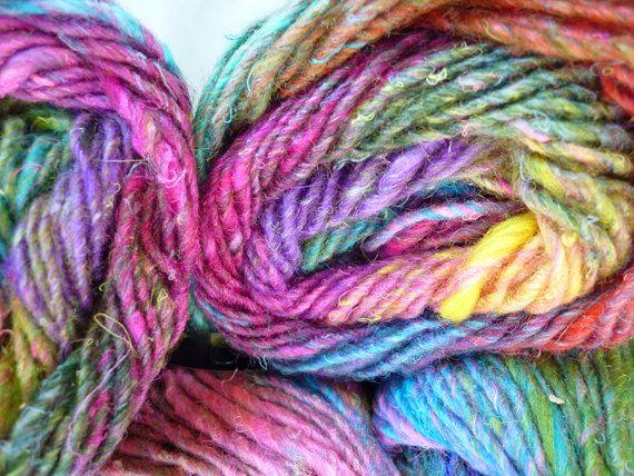 Noro Silk Garden, Color 87, Rainbow Pinks, Reds, Green, Yellow   Mohair,  Wool, Silk Knitting Yarn