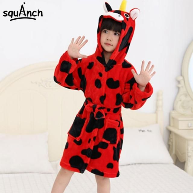 Animals Bath Robes Kids Cartoon Unicorn Giraffe Sleep Bathrobe Flannel Warm  Soft Funny Pajama Suit Boy 547177b18