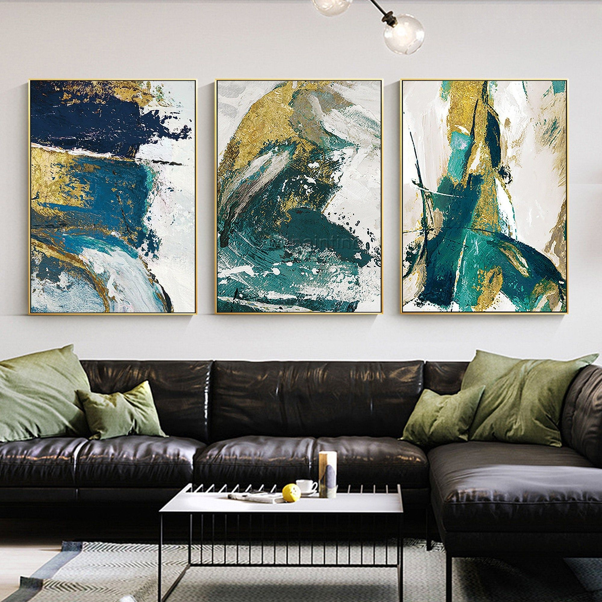 Set Of 3 Wall Art Framed Painting Gold Emerald Green Blue Etsy Abstract Wall Art Living Room Teal Art Abstract Painting Acrylic