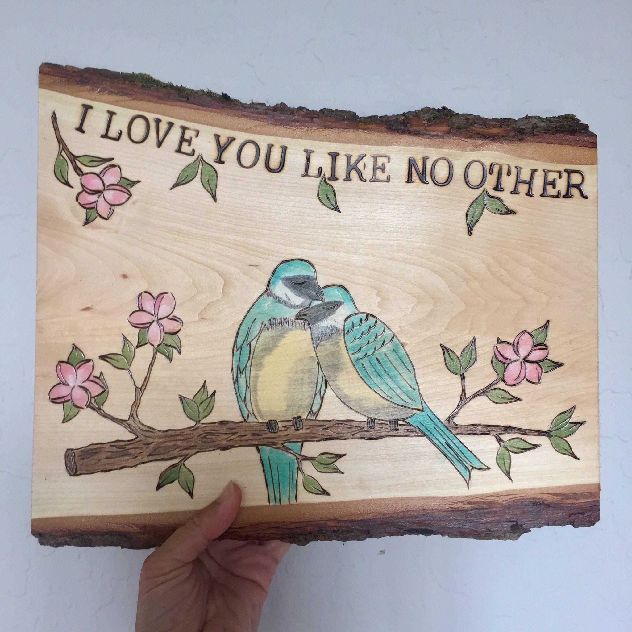 Anniversary keepsake gift personalized wood burned art on tree