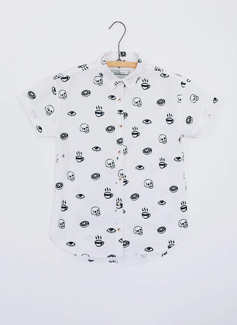 Morning Glory Mens Donut and Coffee Print Fun Casual Hipster Foodie Button Up Shirt for Men