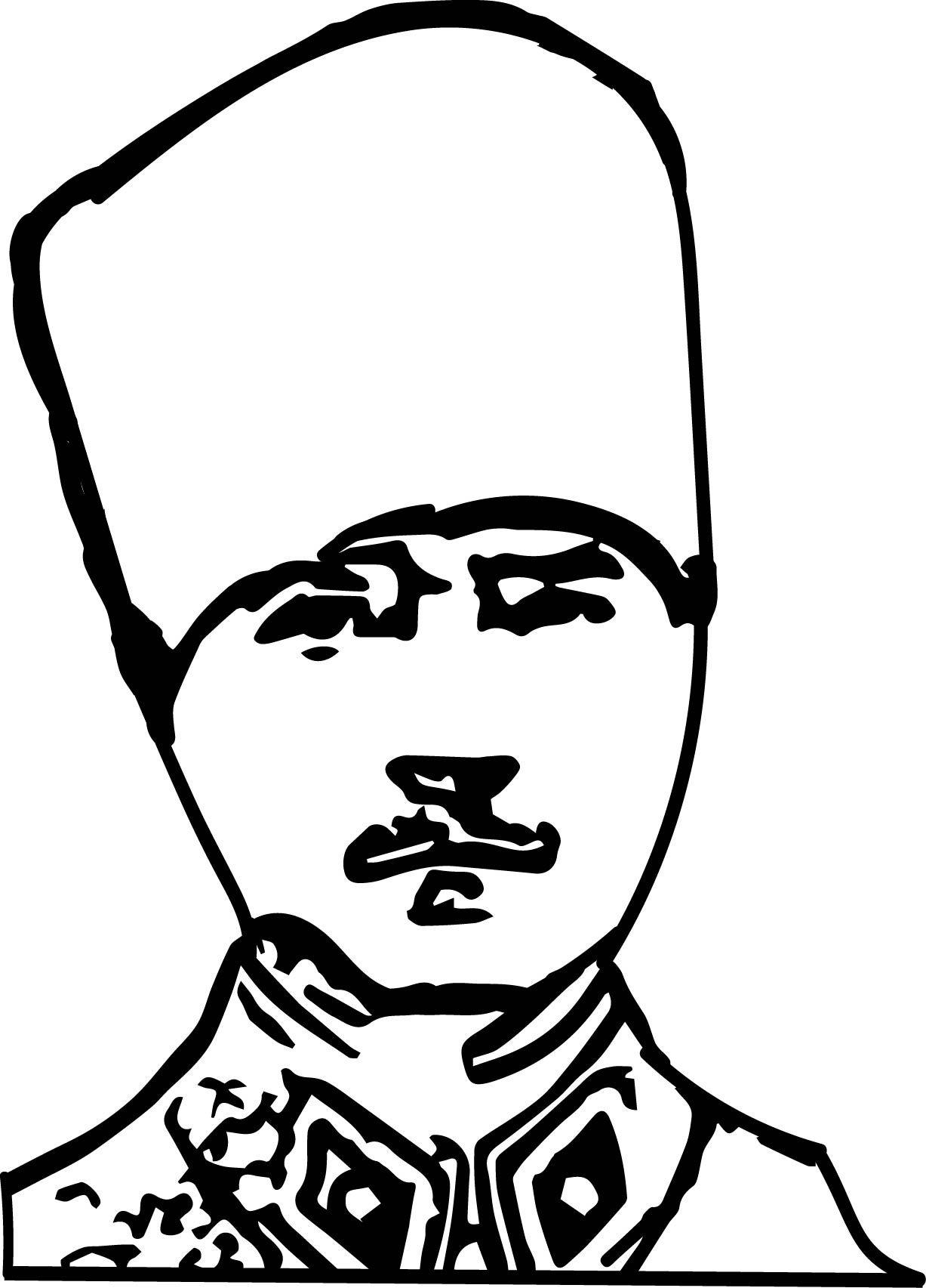 Mustafa Kemal Kalpakli Boyama Sayfasi Jpg 1227 1705 Okul Oncesi