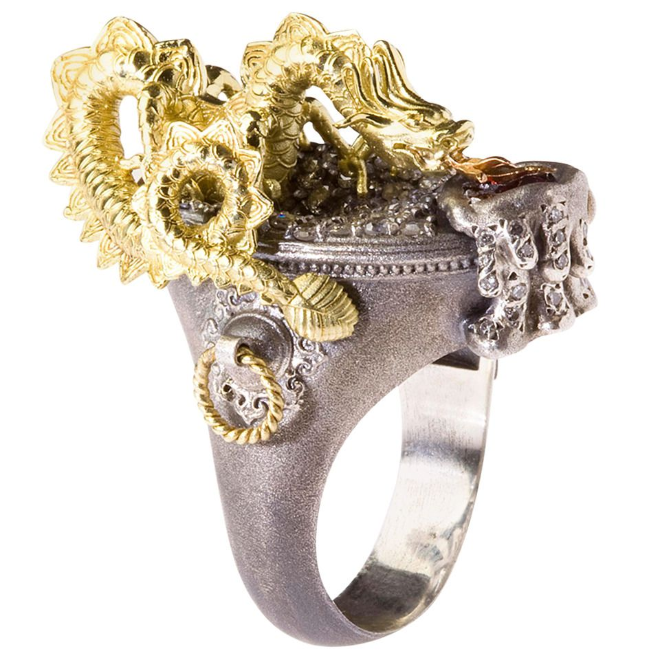 Stambolian Dragon Diamond Silver Gold Ring | Dragon ring ...