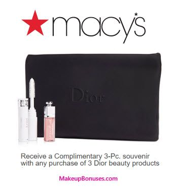 Dior Beauty 3-piece Free Bonus Gift with 3 Dior Beauty Products Purchase at Macy's - details at MakeupBonuses.com #DiorBeauty #Macy's #GWP