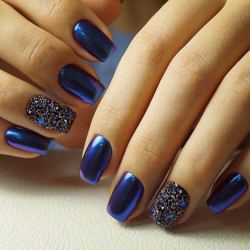 Ideas De Manicura En Tonos Azul Marino...