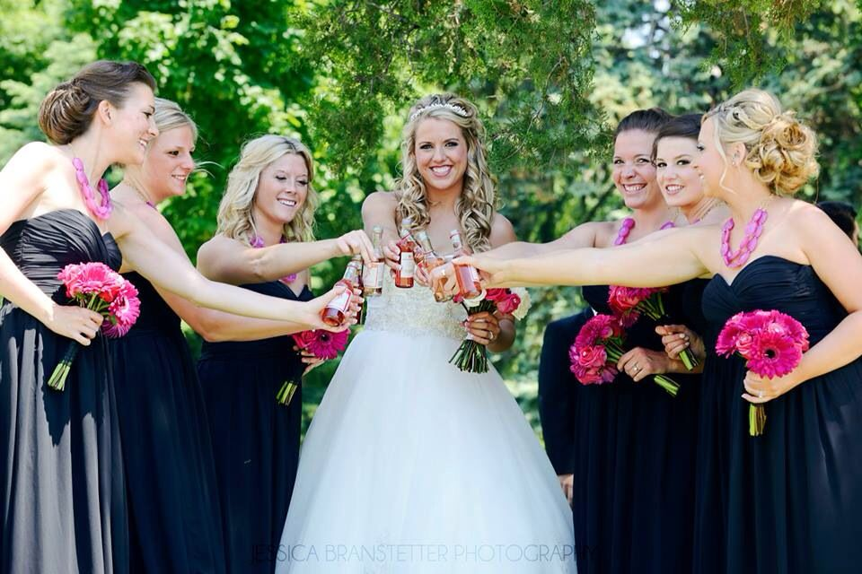 Wedding photos by Jessica Branstetter #wedding #bridesmaids #pink #black #wine #summerwedding