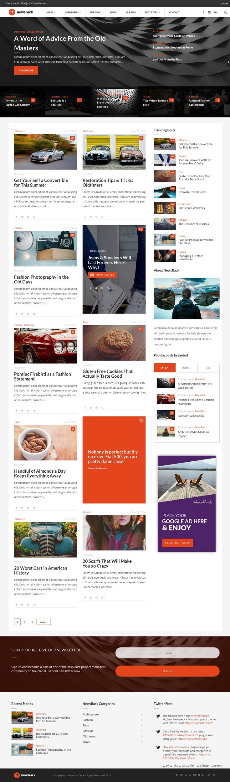 Newsrack Responsive Wordpress Blog Theme With Infinitive Load