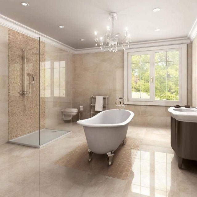 carrelage mosaque de couleur beige clair dans la salle de bains de luxe - Carrelage Douche Salle De Bain