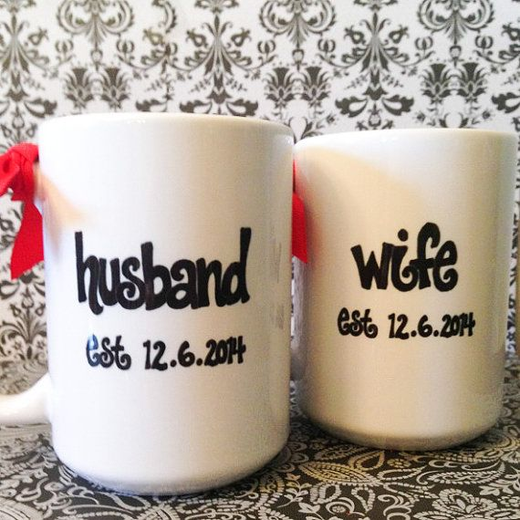 Customized Wedding Gift Mugs : wife mug set wedding or anniversary gift custom name and date diy mugs ...