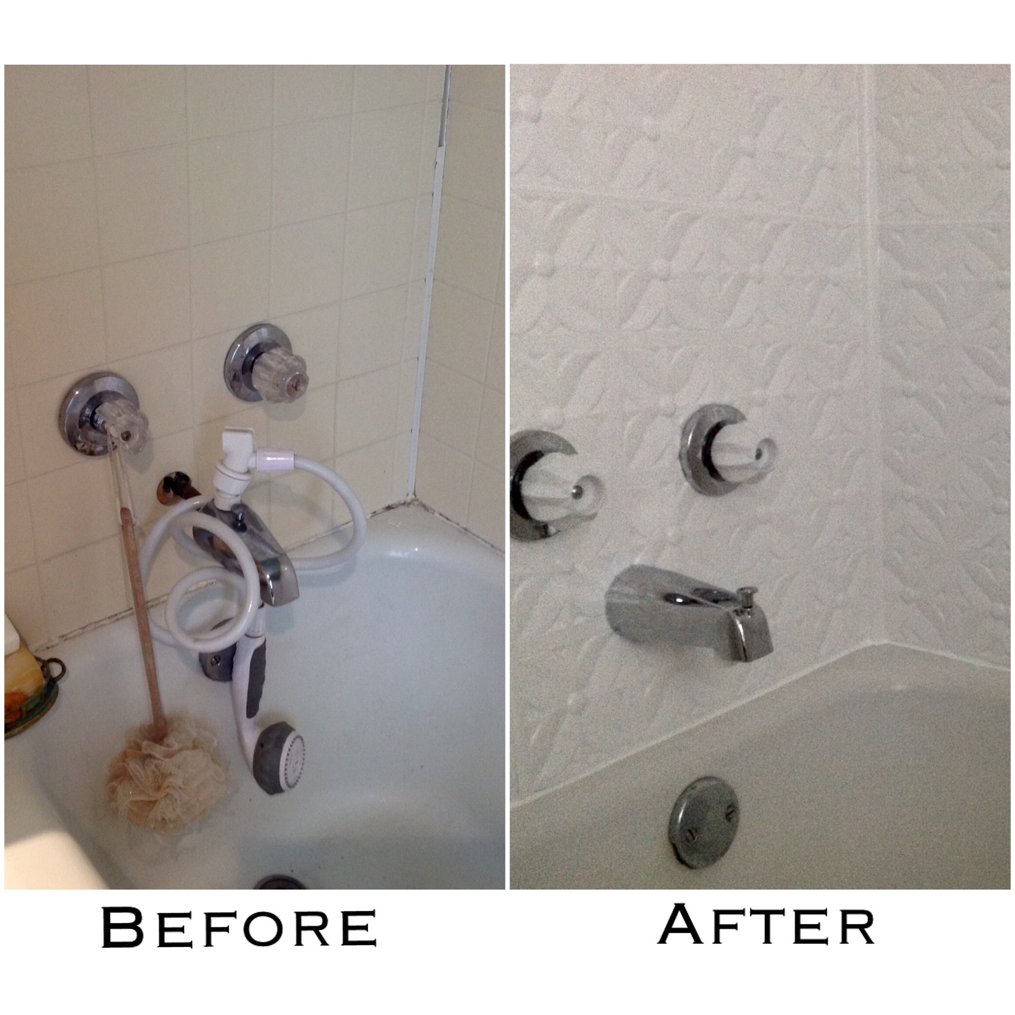 Rather than rip out the old vinyl tile bathtub surround and rather than rip out the old vinyl tile bathtub surround and install ceramic tile i covered it with pvc ceiling tiles the tub spout was replaced and the dailygadgetfo Images