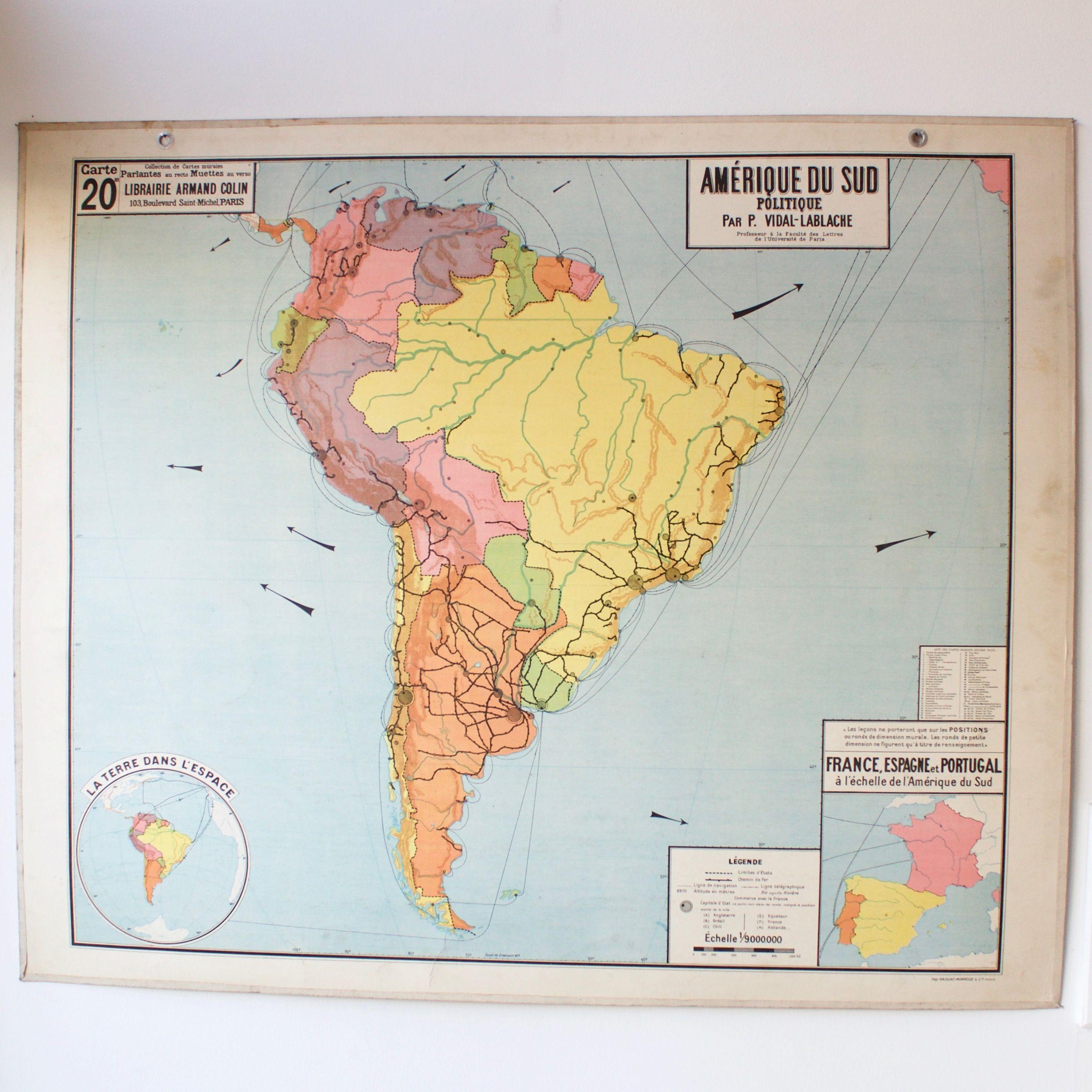 Carte Scolaire Ancienne N20 Amerique Du Sud French Vintage