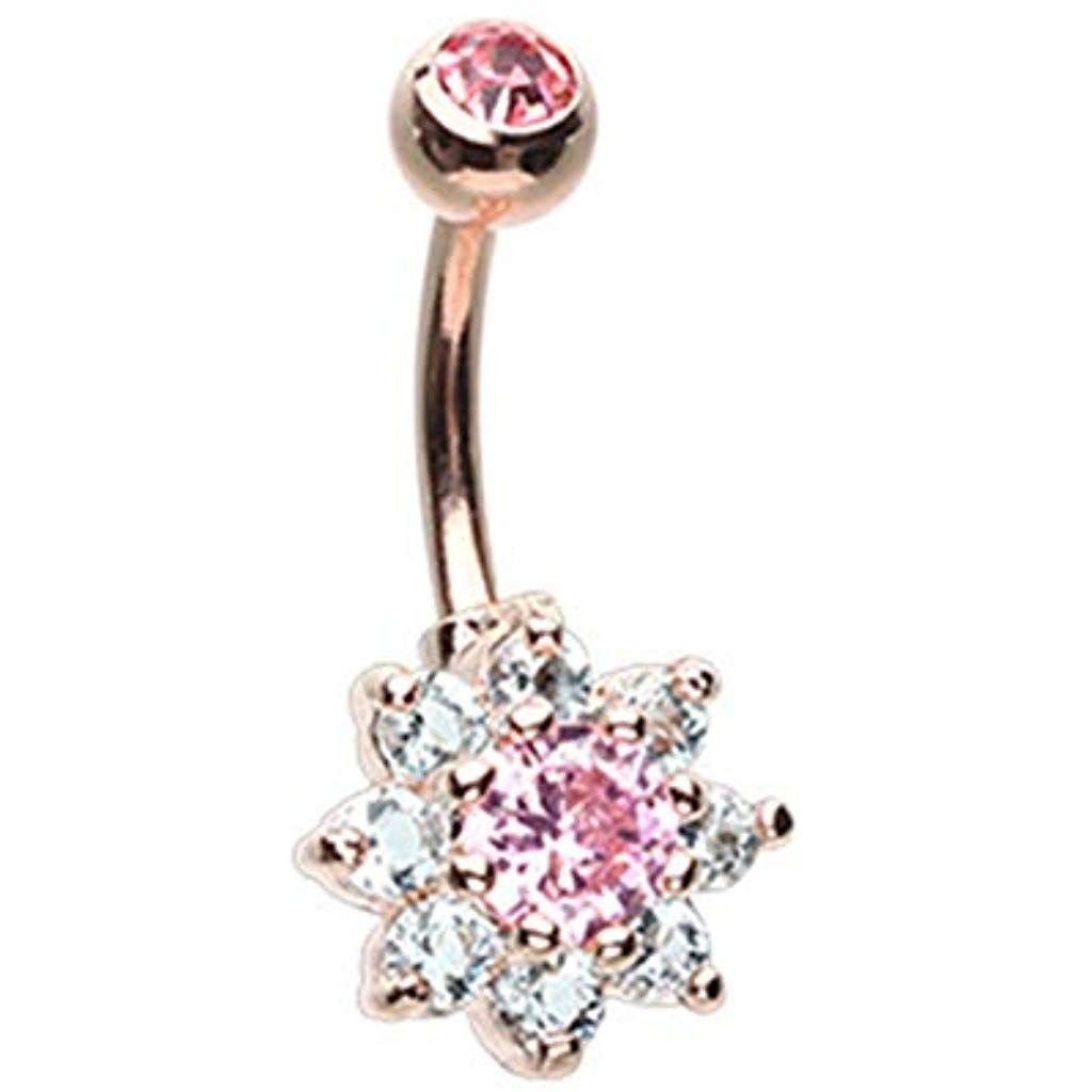 14 GA Rose Gold Graceful Leaf Diamond Dangle Belly Button Ring Davana Enterprises Sold Individually Rose Gold Plated