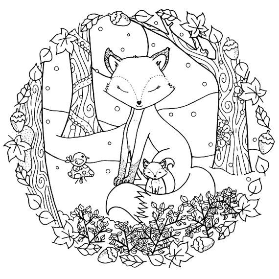 Christmas Winter Woodland Cosy Foxes Adult Coloring Page Download