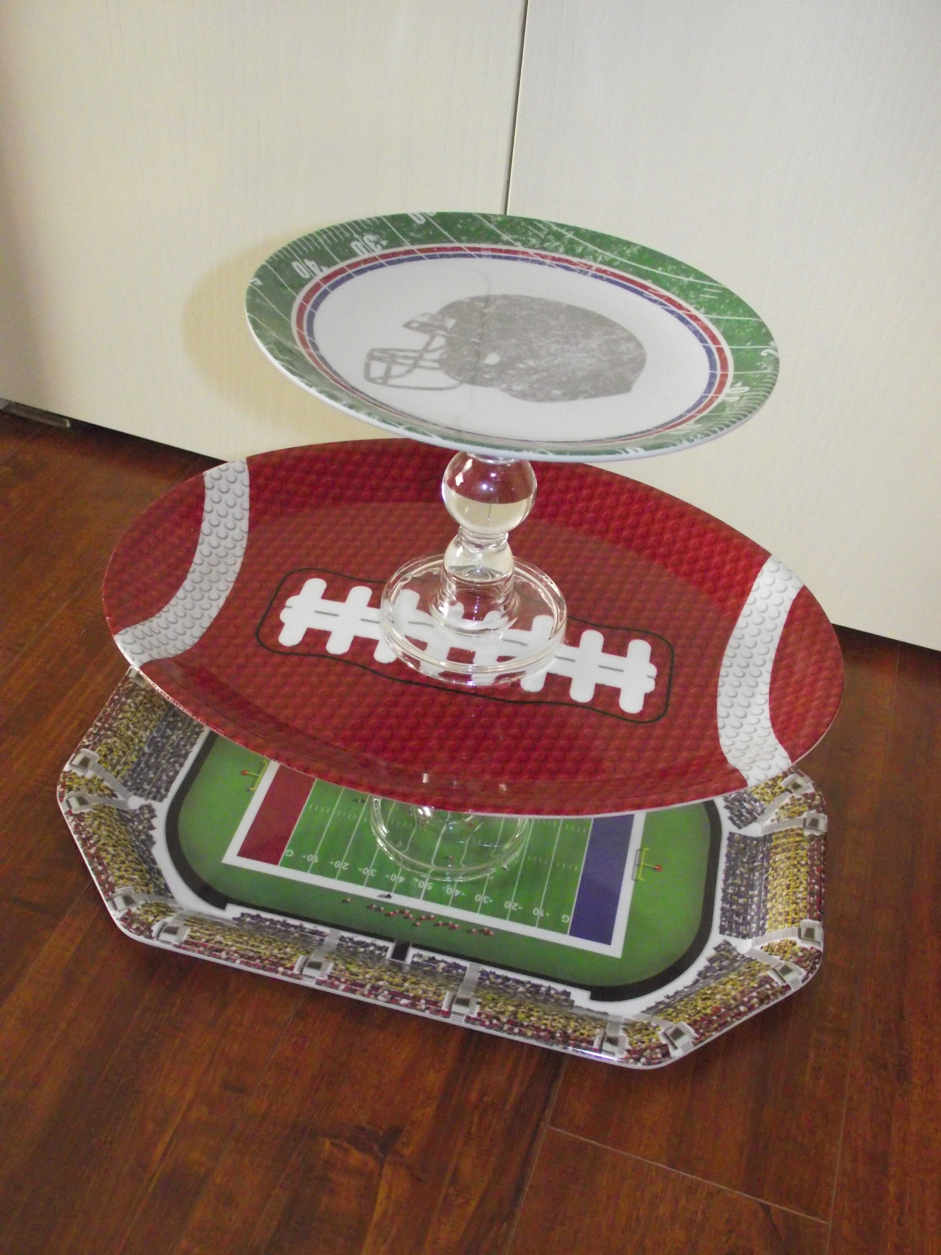 Create this easy football inspired server!  Made with candle stick holders, plates, and hot glue!