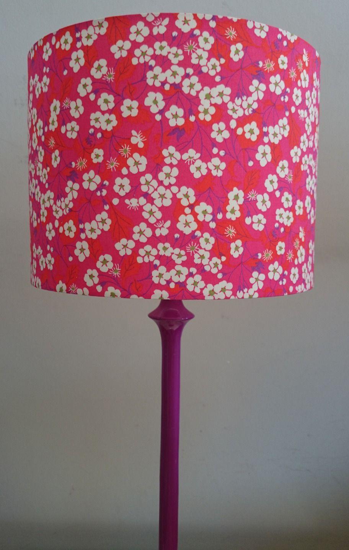 Abat Jour Fait Main Pour Pied De Lampe Ou Suspension Tissu Liberty Fleurs  De Cerisier Rouge Rose : Luminaires Par Leslucioleslampesetabatjours