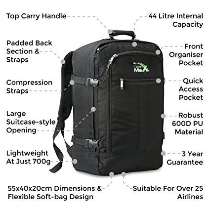 Cabin Max Backpack Flight Approved Carry On Bag Massive 44 litre Travel  Hand Luggage 55x40x20 cm - Metz Black  Amazon.co.uk  Luggage 67f14d0804