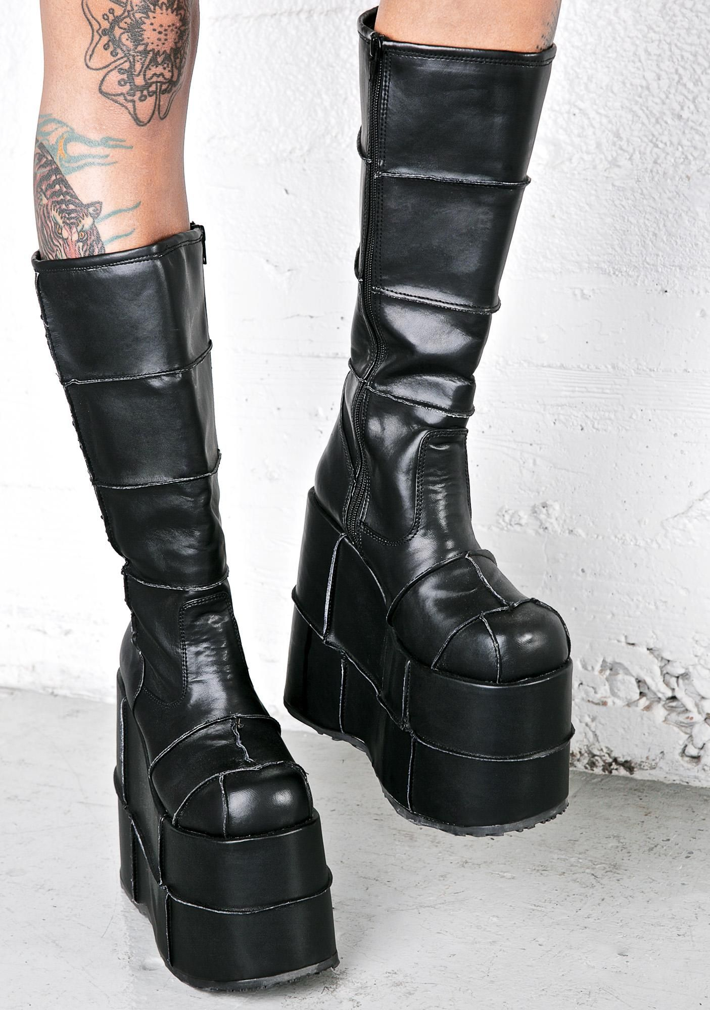 22e2643b39c4e Demonia Stack Patched Platform Boots have ya stacked all da way up. These  epic boots are badazz with their soft soft vegan leather construction and  patched ...