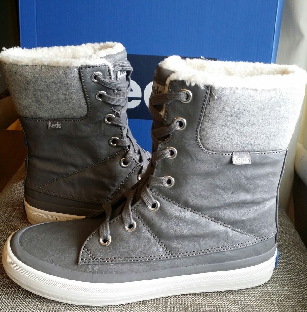 Womens Winter Fur Snow Boots Warm Sneakers Size 6.5 Grey Gray