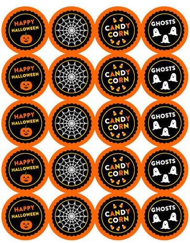 Ol5375 2 circle halloween 2 inch round sticker labels with cute designs
