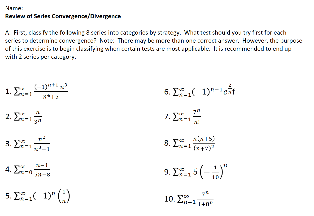 Mixed Review Determining Series Convergence/Divergence | Original