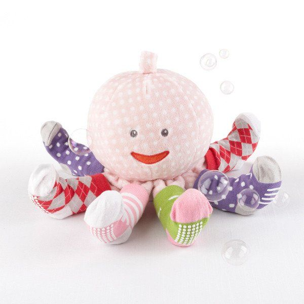 Mrs. Sock T. Pus Plush Octopus with 4 Pairs of Baby Socks (Pink) - As Your Baby Grows Gift Boutique - 1