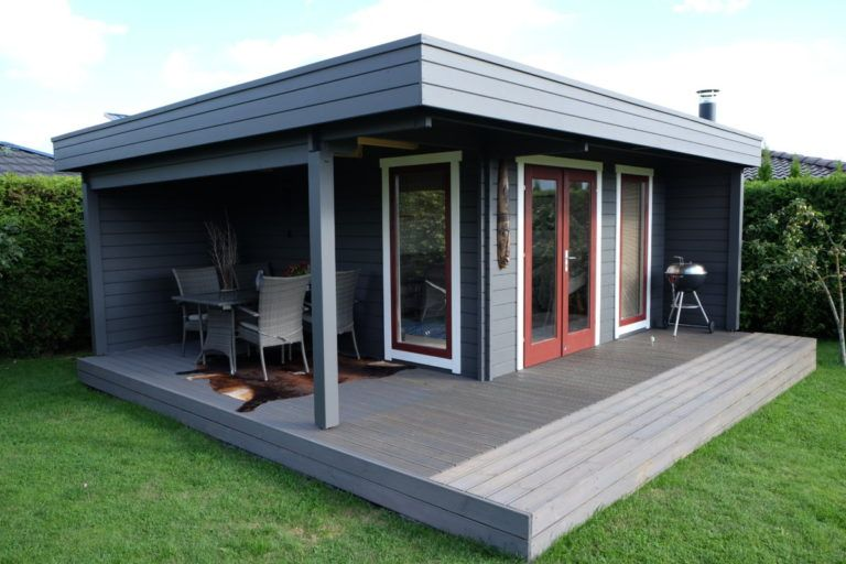 Das Hansa Lounge Xl Gartenhaus Mit Erweitertem Sonnendeck Hansagarten24 Gartenhaus Flachdach Gartenhaus Haus