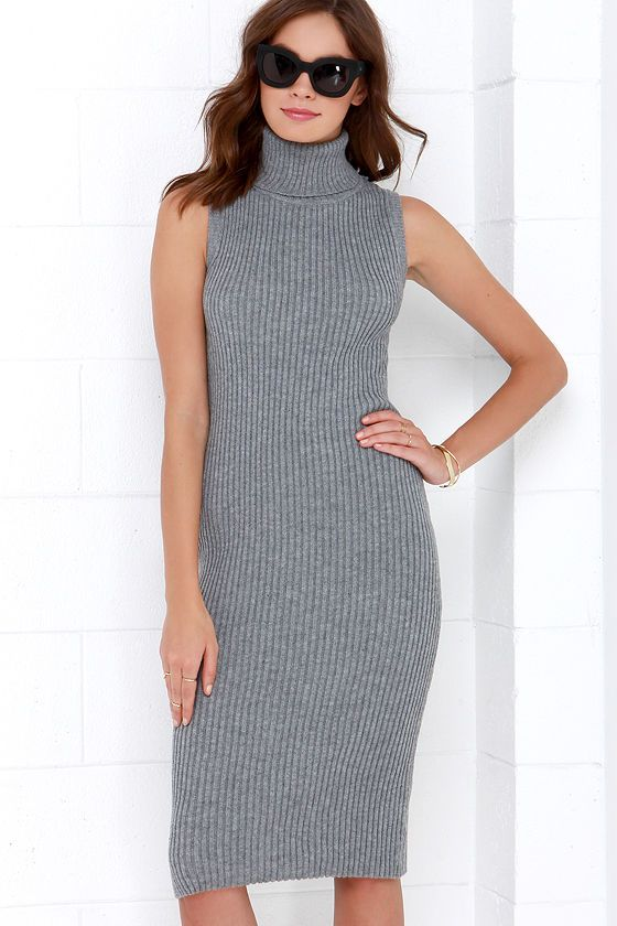 a031b0d0bc0b Cozy on Down Grey Midi Sweater Dress at Lulus.com!