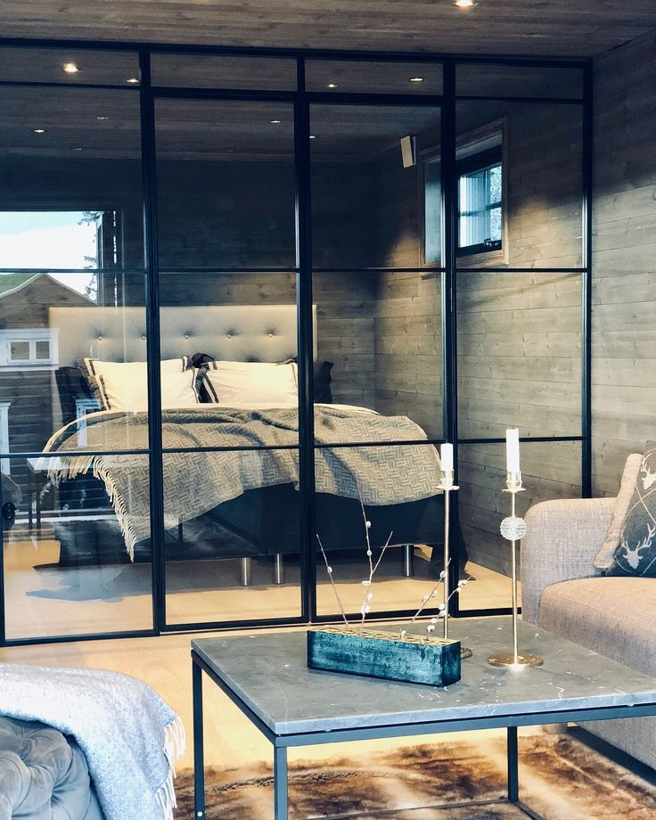 Glass and steel wall with french doors- Glass and steel wall…