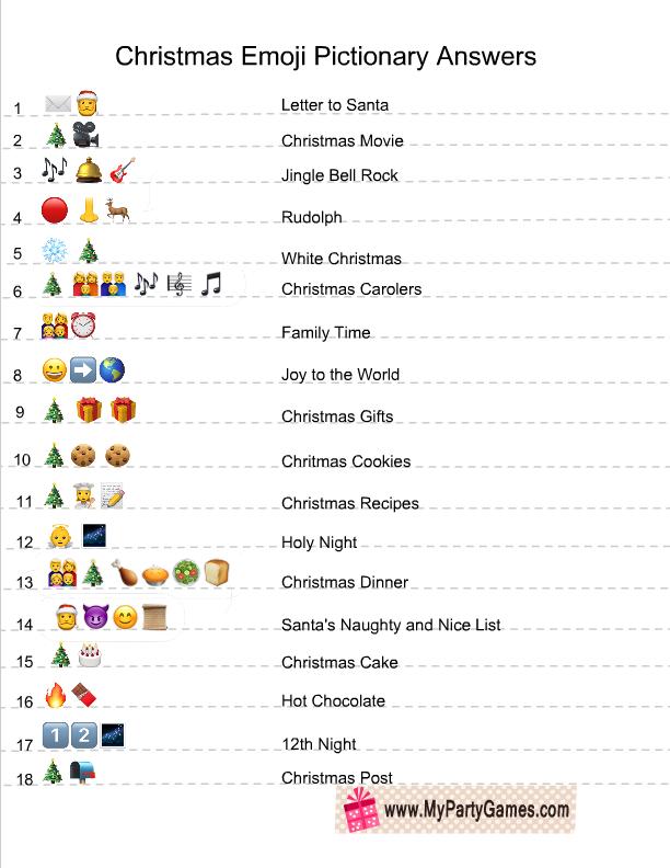 christmas emoji pictionary quiz answer key fun christmas. Black Bedroom Furniture Sets. Home Design Ideas