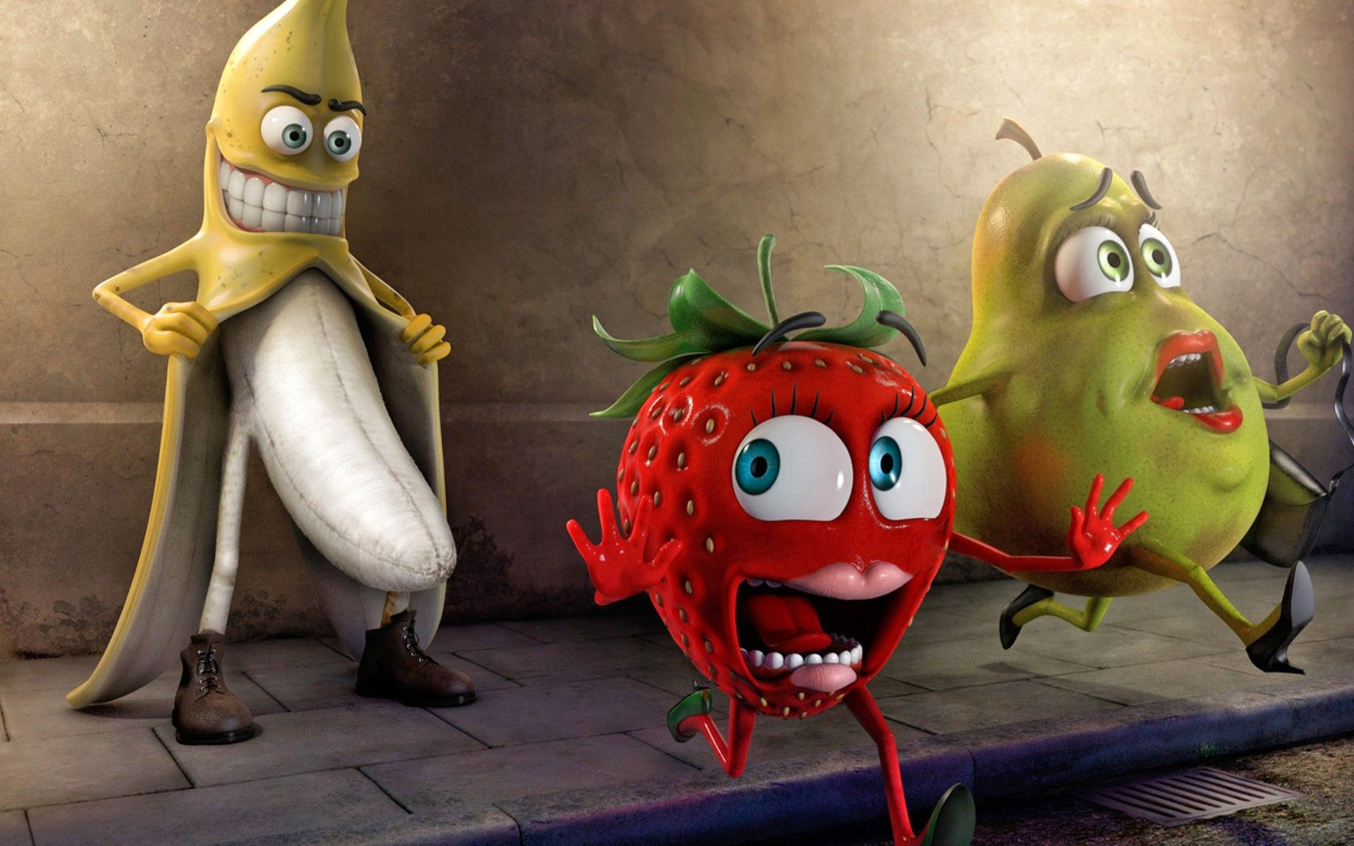 Love Bananas Strawberries 1920x1200 Wallpaper Funny Fruit Funny Wallpapers Funny Images