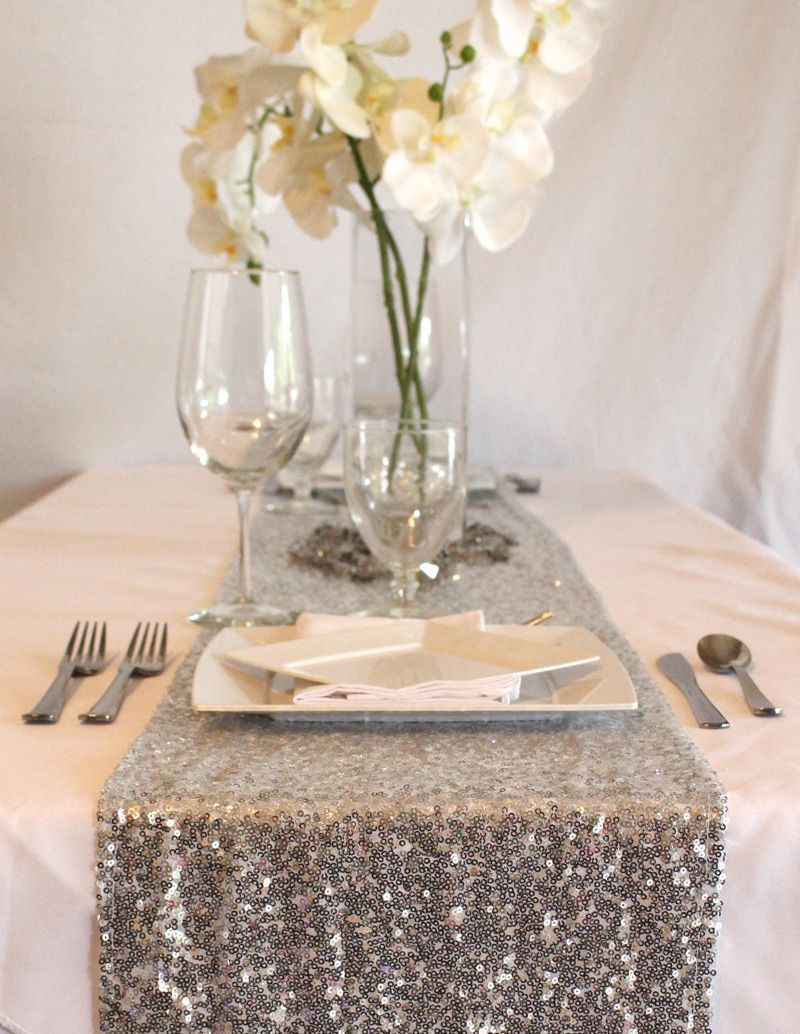Silver Sequin Table Runner. Add Some Glam To Your Glitter Wedding With  Sequin Table Covers