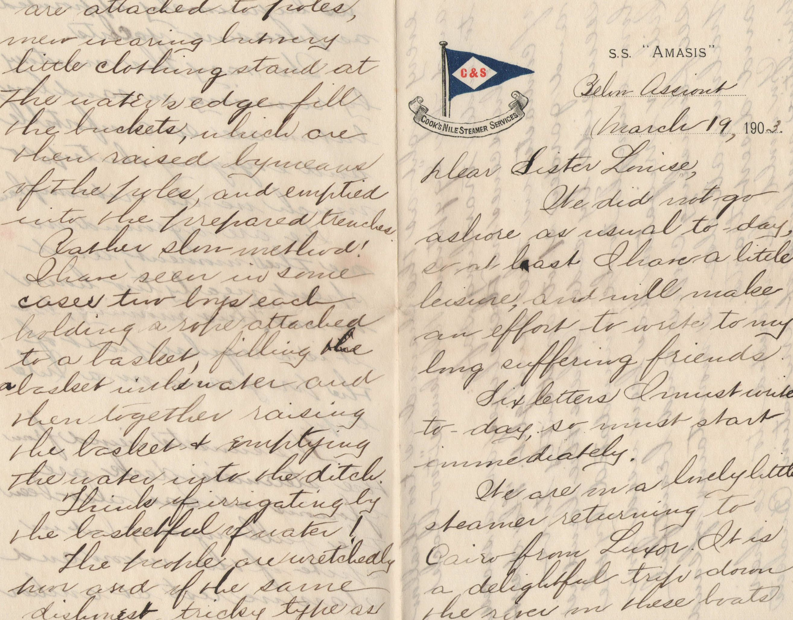 2 pages from a 1903 letter sent to new london connecticut usa on 2 pages from a 1903 letter sent to new london connecticut usa on cooks nile steamer ccuart Gallery