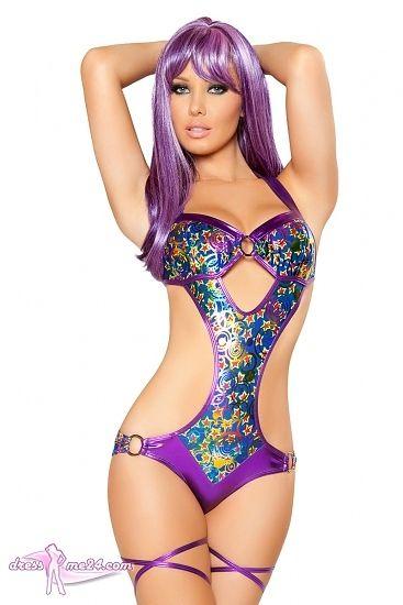 Besuche uns gern auch auf dressme24.com ;-) GoGo Monokini Blue Purple - Raffinierter Monokini - wird im Nacken und Rücken individuell gebunden. An den Seiten mit Ringen verziert. Mit einer gerafften Rückseite am Po, damit dieser immer knackig wirkt! #Gogooutfits, #Gogokleidung, #Monokinis