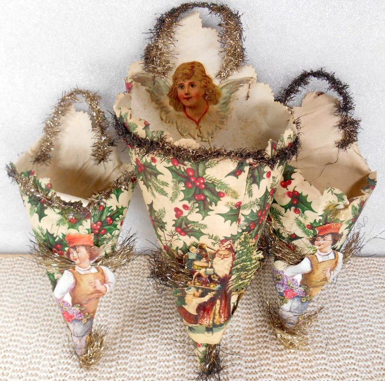 Victorian Christmas Decorations: 2 Antique CHRISTMAS ORNAMENT CORNUCOPIA CANDY CONTAINER