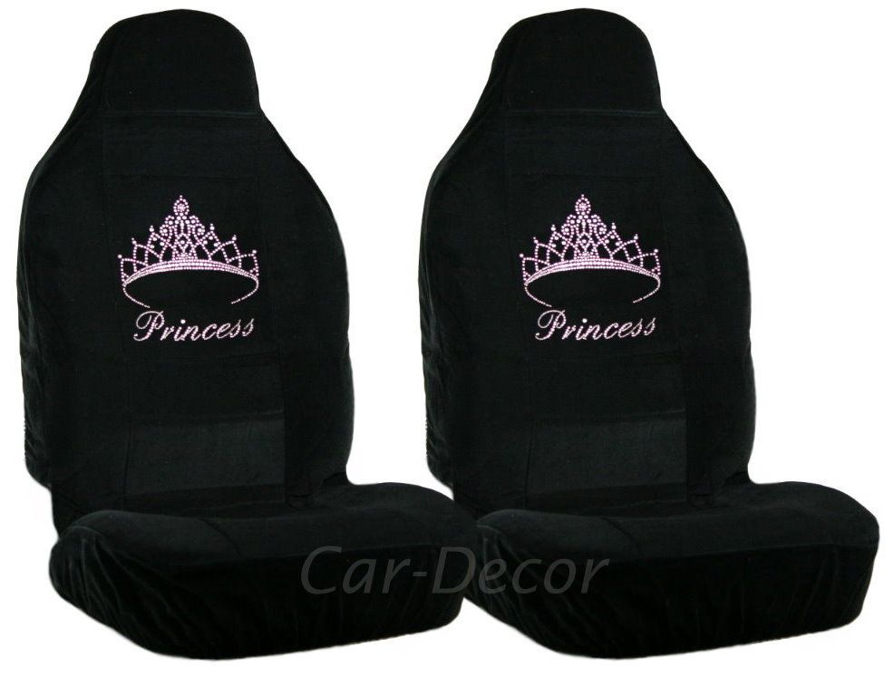 Crystal Pink Princess Crown Car Seat Cover Girly Auto Accessory