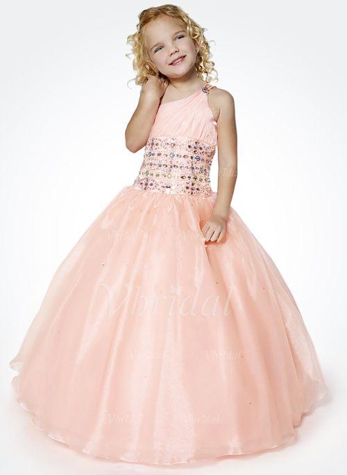 f79672ae208 Flower Girl Dresses -  113.91 - A-Line Princess One-Shoulder Floor-Length  Organza Satin Flower Girl Dress With Ruffle Beading (01005009024)