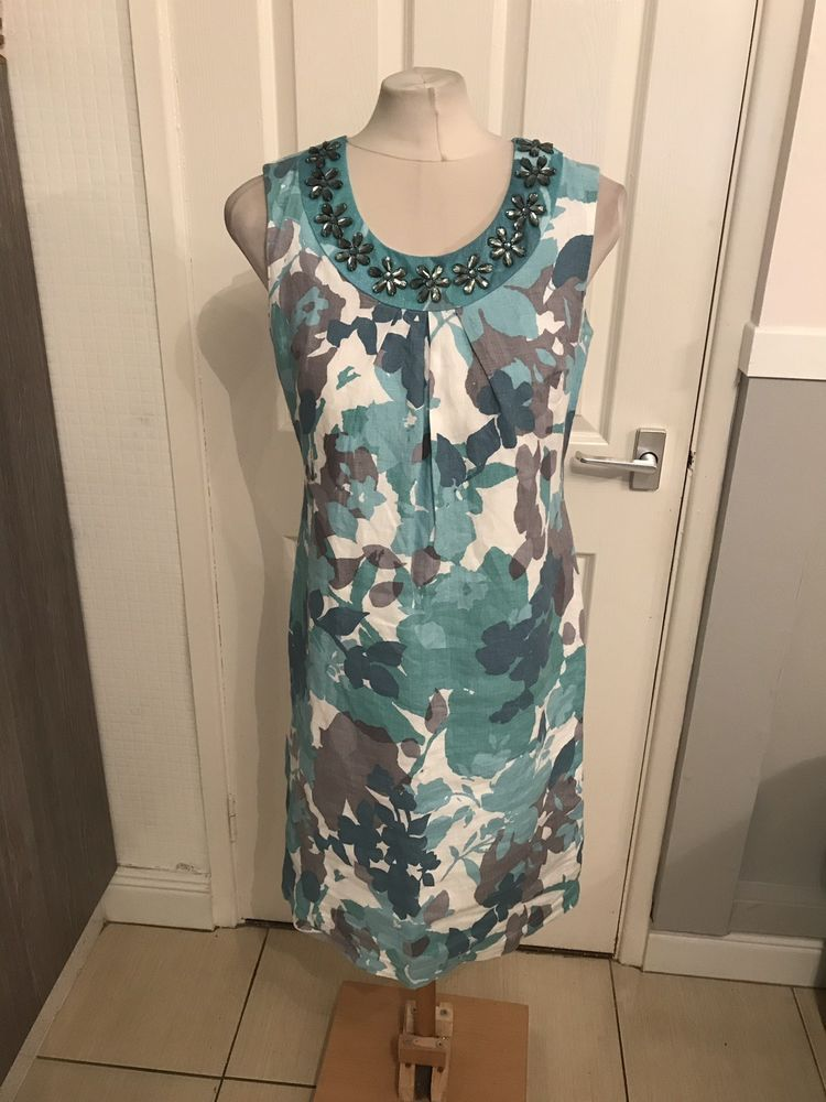 858ab6f209e Ladies Teal And White Floral Design Dressy Summer Look Dress Size 12L Per  Una  fashion  clothing  shoes  accessories  womensclothing  dresses (ebay  link)