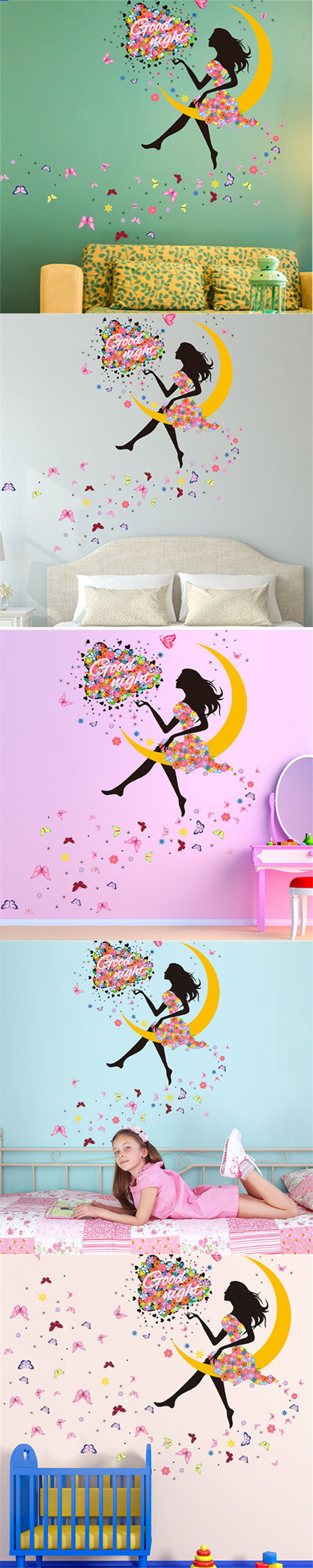 Princess Wall Decorations Bedrooms Princess Butterfly Moon Girls Art Decal Wall Stickers For Home