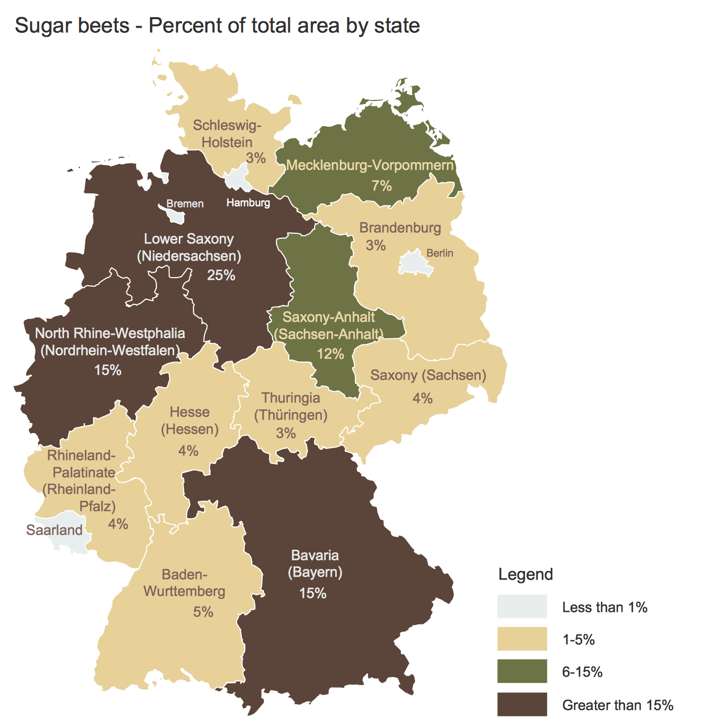 Germany Crop Areas Map Sugar Beets This diagram was created in