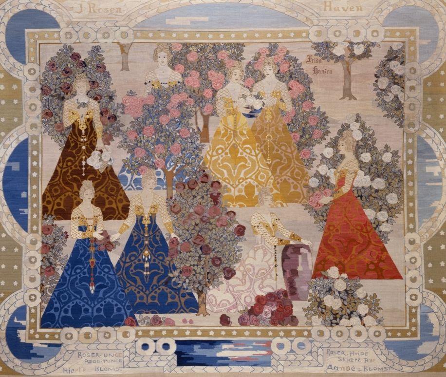 Frida Hansen, ROSENHAVEN, 1904, 313x375 cm. Billedvev i bomull og ull. Drammens museum
