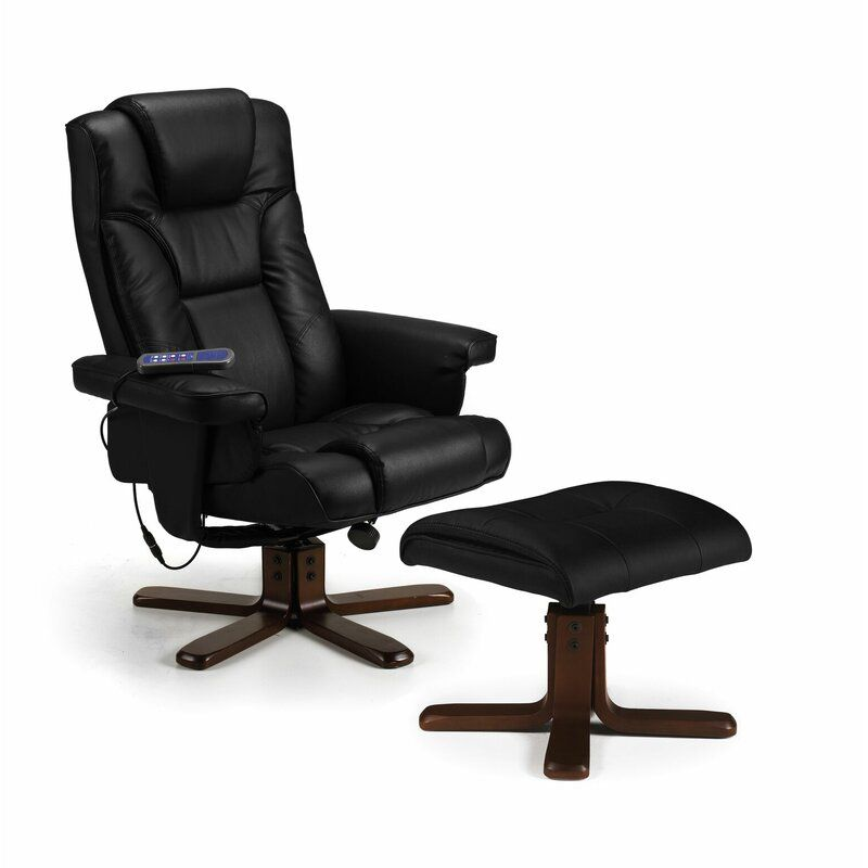 Collins massage manual swivel recliner with footstool in