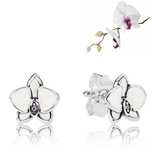 Orchid Trellis New Diamontrigue Jewelry: White Orchids Stud Earrings * RETIRED