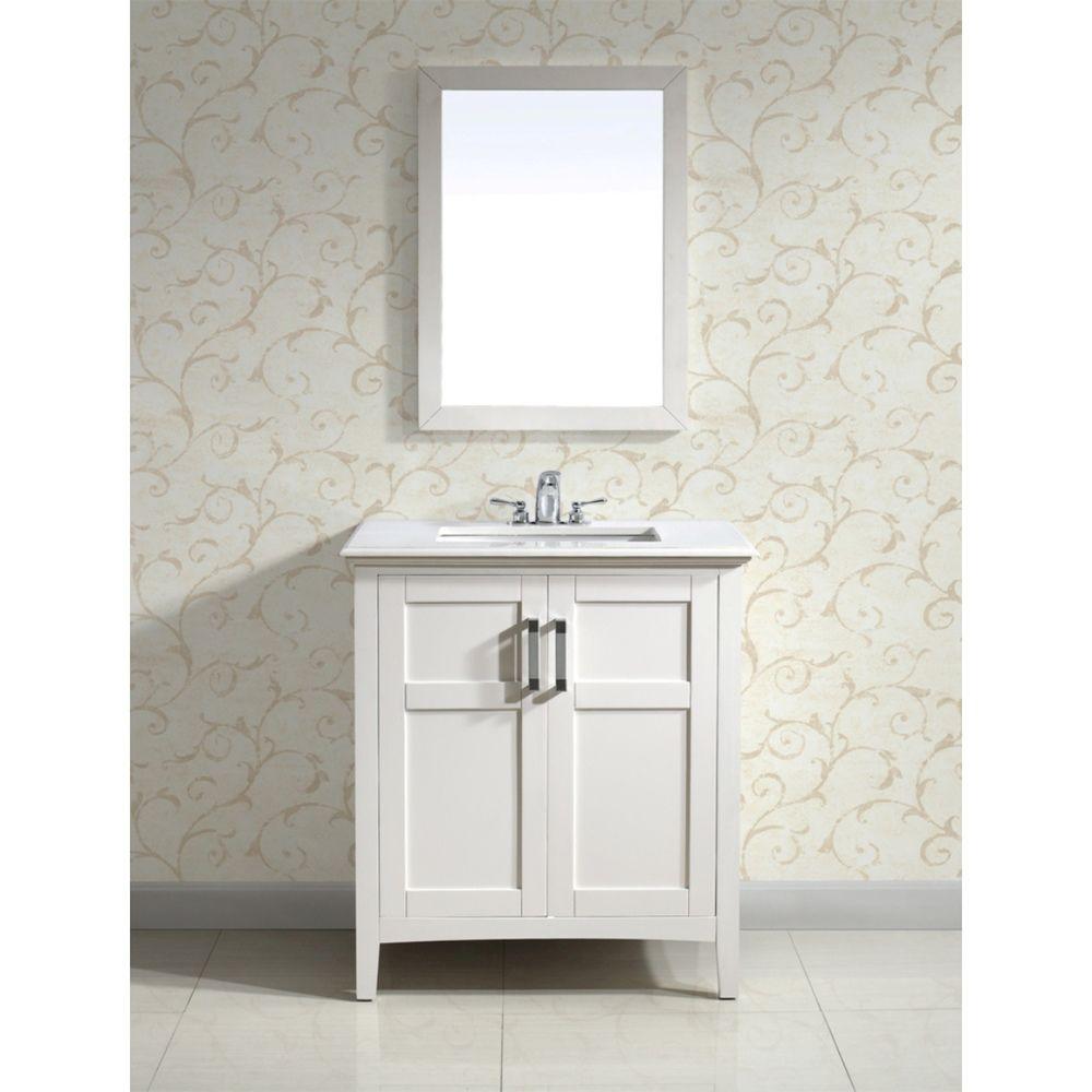 Salem White 30-inch Two-Door White Marble Top Bathroom Vanity Set | Overstock.com