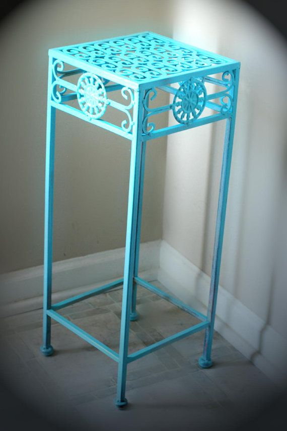 Teal Metal Side Table For Bathroom Corner Plant Stand By Abatearts 16 00