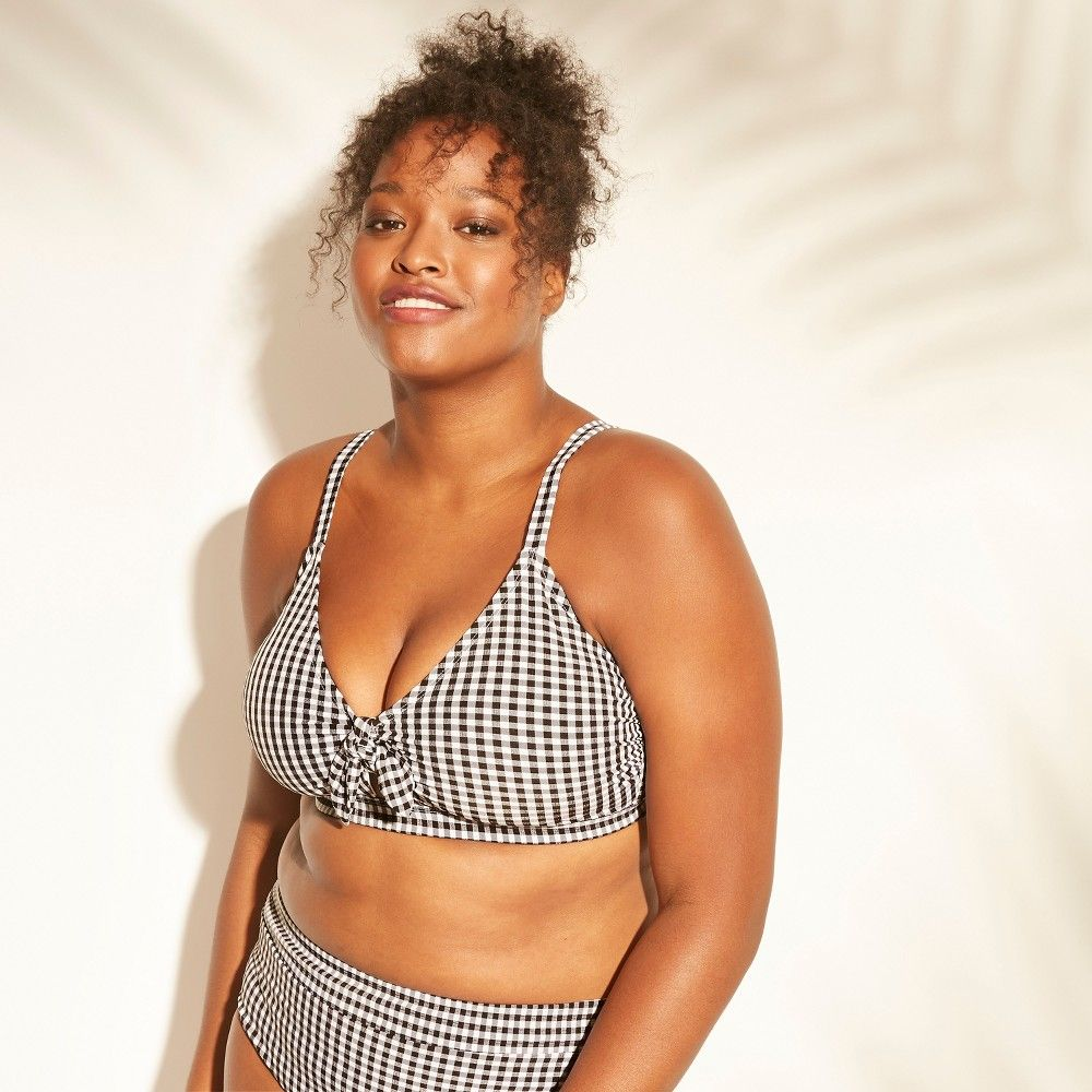 01a78b352d89d Get ready for a perfectly sweet swimwear look with the Tie-Front Gingham  Bralette Bikini Top from Xhilaration. Youll love the feminine style of a  tie-front ...