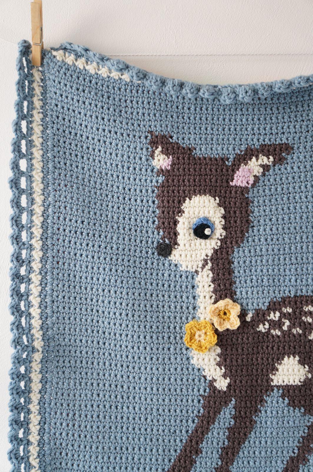 Hello Deer Baby Blanket pattern by Little Doolally | salmon ...