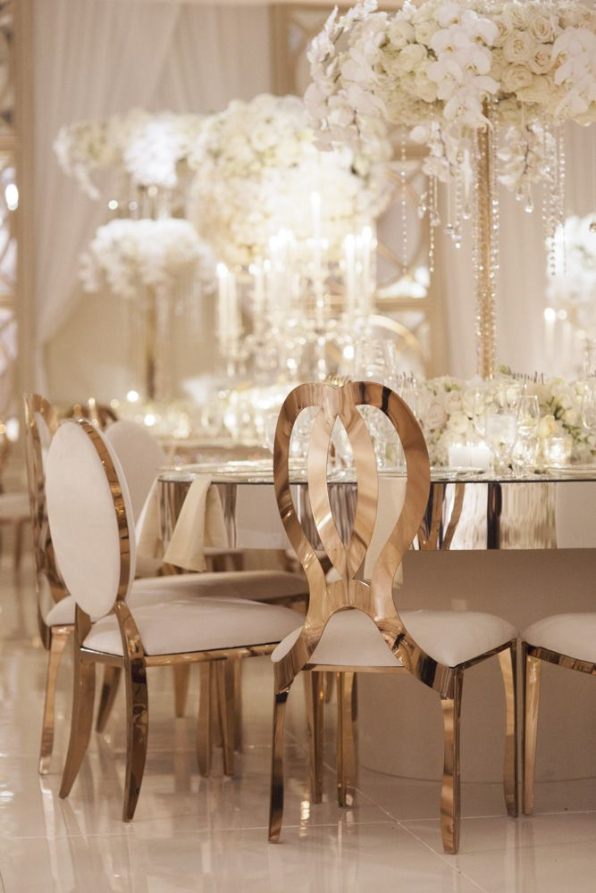 Glamorous Gold Wedding Chairs and Mirror Tables at Four Seasons